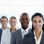 """""""Cheerful business woman along with associates"""" by nylsmkt"""
